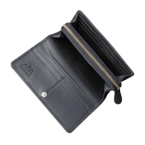 ロングウォレット/革財布 ブラック オイルドレザー