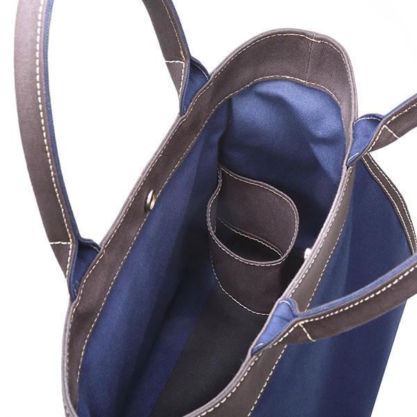 キャンバス生地トートバッグ ブルー グレー コットン BGC-67-BLUGRY