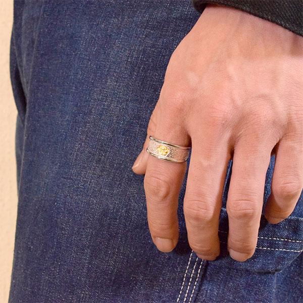 ポピーモチーフ シルバー925 K24(24金)ゴールドプレートリング/指輪