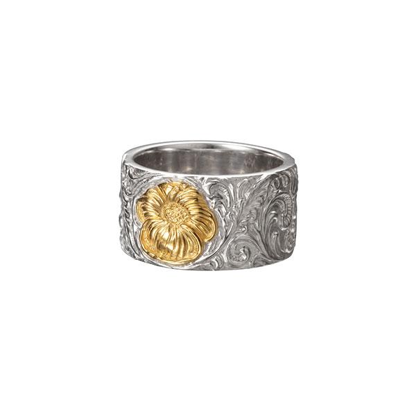 シェリダンカービング シルバー925 K24(24金)ゴールドプレートリング/指輪