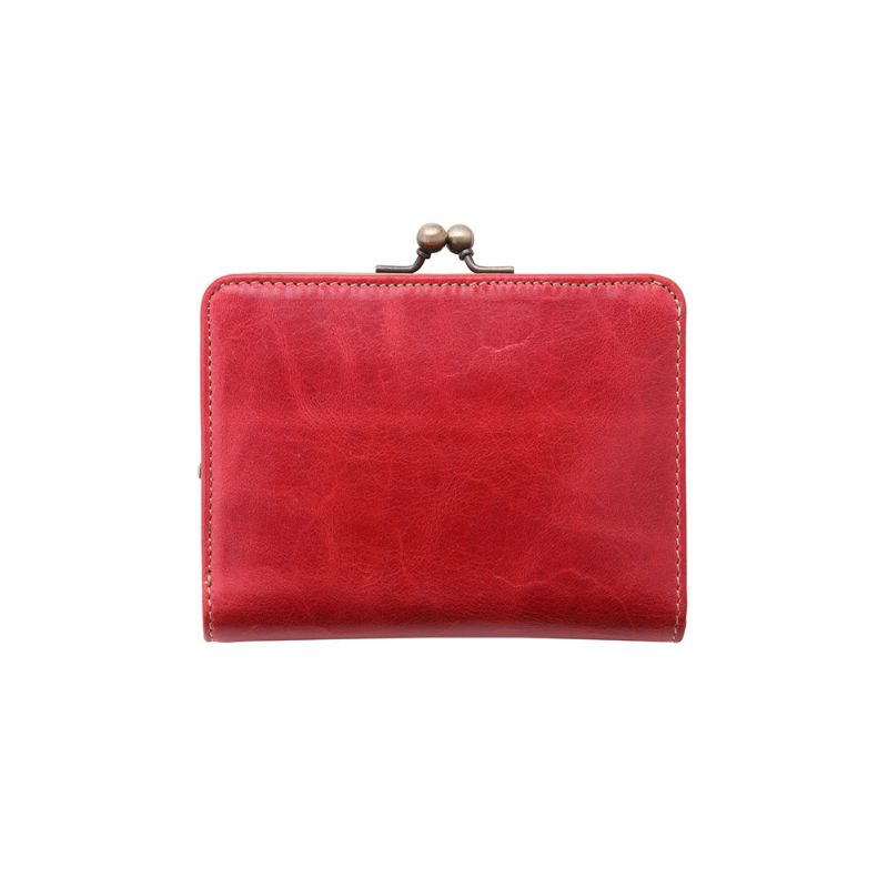 ショートウォレット/革財布 レッド イタリアンレザー