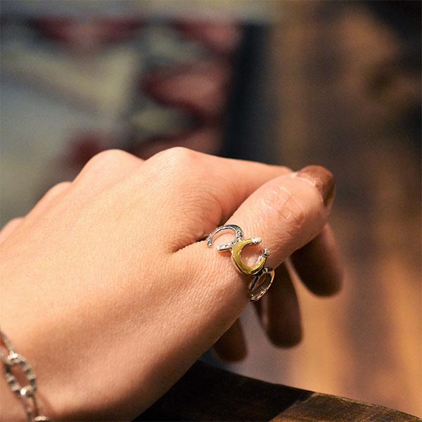馬蹄モチーフ シルバー925 K24(24金)ゴールドプレートリング/指輪