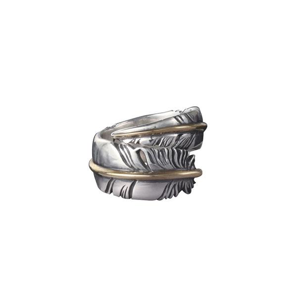 フェザーモチーフスパイラル シルバー925リング/指輪