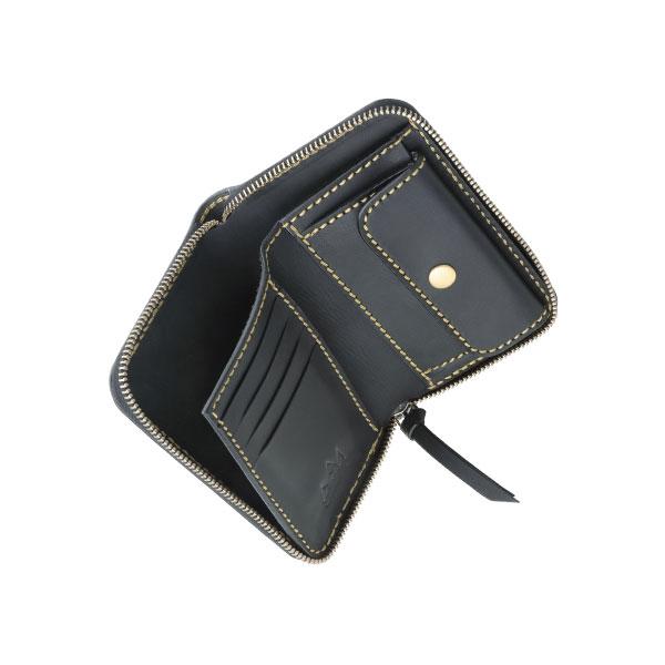 ミドルウォレット/革財布 ブラック サドルレザー
