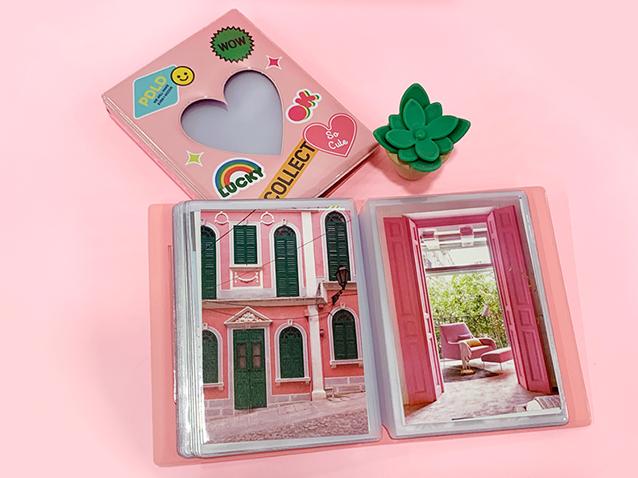 ハガキコレクトアルバム(窓付き、全面印刷、ハードカバー、ハガキ・KG判サイズ最大40枚収納)