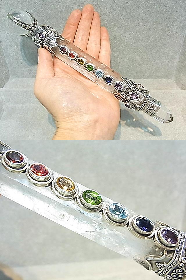 HM0043 レムリアン水晶(GEO) チャクラストーン ワンド