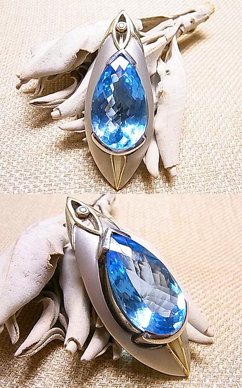 P00507 トパーズ×ダイヤ デザインペンダントヘッドGEO