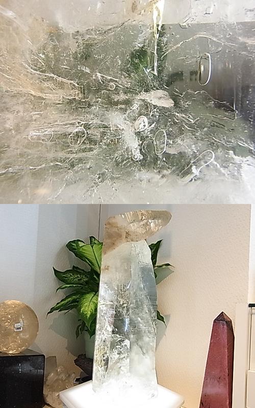 CMM0050F 水入り水晶 原石ポイント【大型】