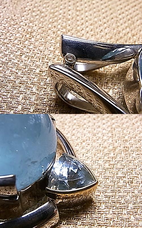 P00510 アクアマリン×ダイヤ×ブルートパーズ デザインペンダントヘッドGEO