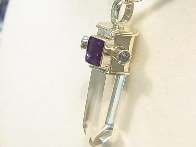 PK00052F レムリア水晶  シルバーペンダントヘッド (アメジスト・ブルートパーズ) 【GEO DESIGN】