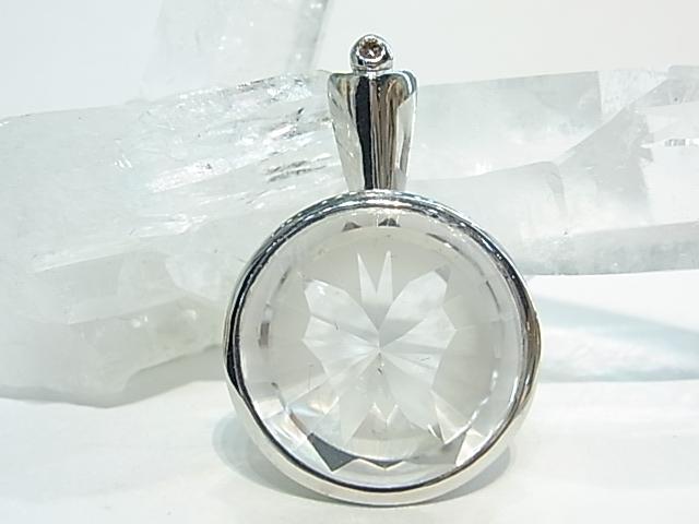 PK00067F レムリア水晶 シルバーペンダントヘッド (ダイヤモンド付き) 【GEO DESIGN】