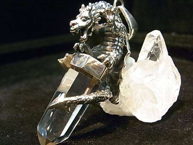 PK00046F レムリア水晶  シルバーペンダントヘッド ドラゴン【GEO DESIGN】