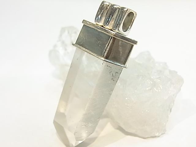 PK00050F レムリア水晶ファントム  シルバーペンダントヘッド 【GEO DESIGN】