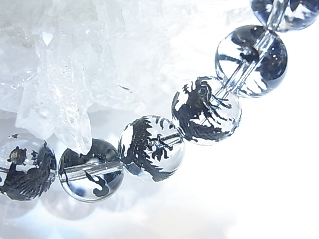 BA00015K 水晶 龍彫り(黒龍)10mm玉ブレスレット