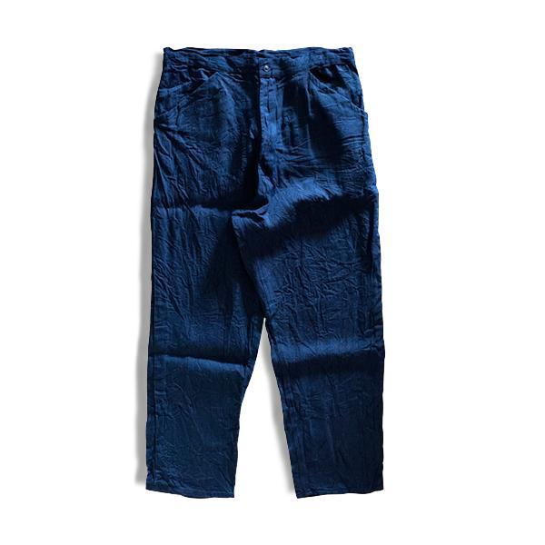 yarmo / ヤーモ Easy Pants  Indigo Black Linen KOJIMA Denim