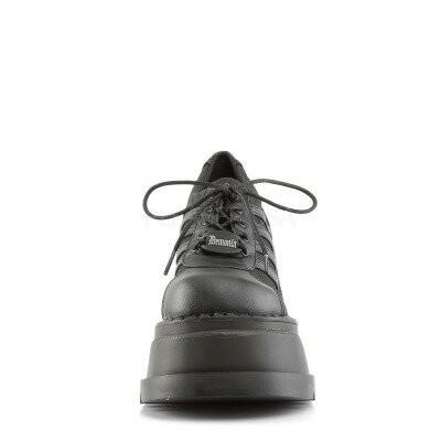 DEMONIA【取り寄せ】レースアップ厚底スニーカーシューズ/品番:STOMP-08/STO08/12cmヒール/ゴシック/原宿系/フェティッシュ/厚底靴/厚底シューズ/靴/ビーガンレザーブラック/黒