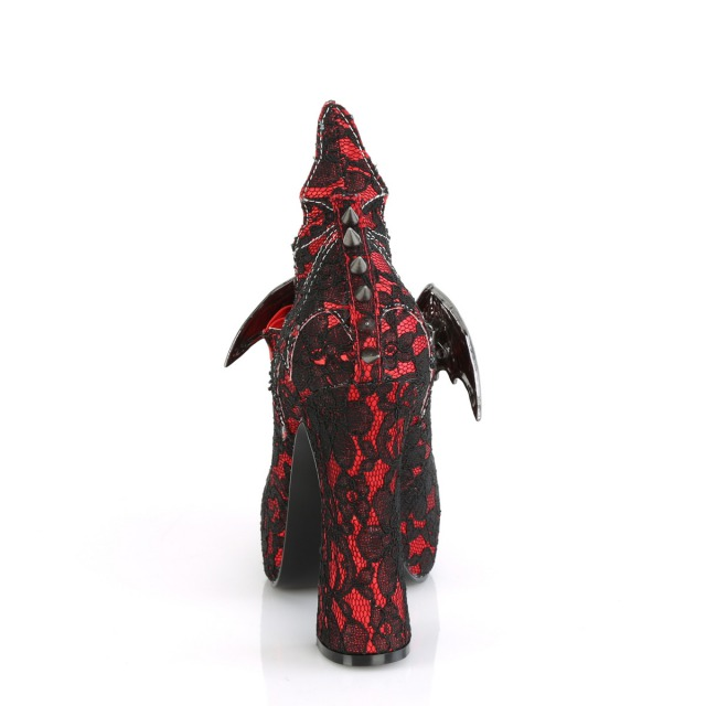 DEMONIA【取り寄せ】デモニア・バットウィングメリージェーンスパイク厚底パンプス/品番:DEMON-18/DEMON18/13cmヒール/ゴシック/ゴスロリ/ロリータ/原宿系/フェティッシュ/厚底靴/厚底/シューズ/靴/大きいサイズ/サテンレッド×ブラック/赤色×黒色