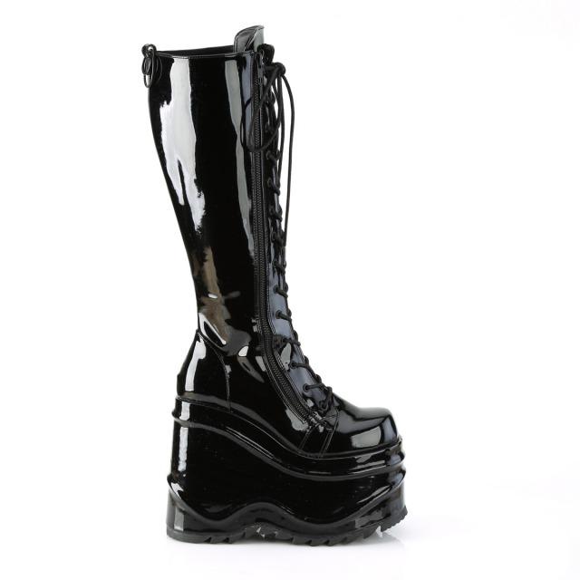 DEMONIA【取り寄せ】デモニア・ダブルメタルジッパー厚底ウェッジソールニーハイブーツ/品番:WAVE-200/WAVE200/15cmヒール/ゴシック/原宿系/フェティッシュ/厚底靴/厚底シューズ/大きいサイズ/靴/エナメルブラック/黒色