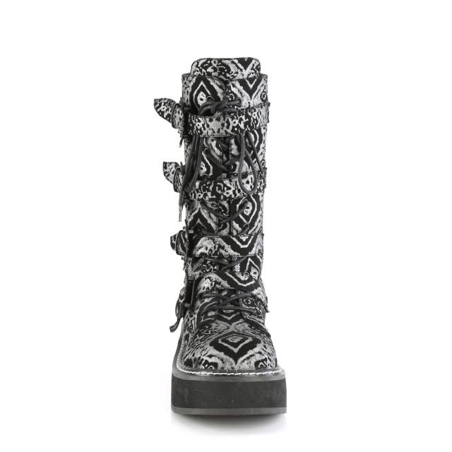 DEMONIA【取り寄せ】デモニア・バットバックルロングブーツ/品番:EMILY-322/EMI322/5cmソール/ゴシック/原宿系/原宿ファッション/フェティッシュ/厚底靴/厚底シューズ/大きいサイズ/靴/ブラックヌバック×シルバー/黒色×銀色