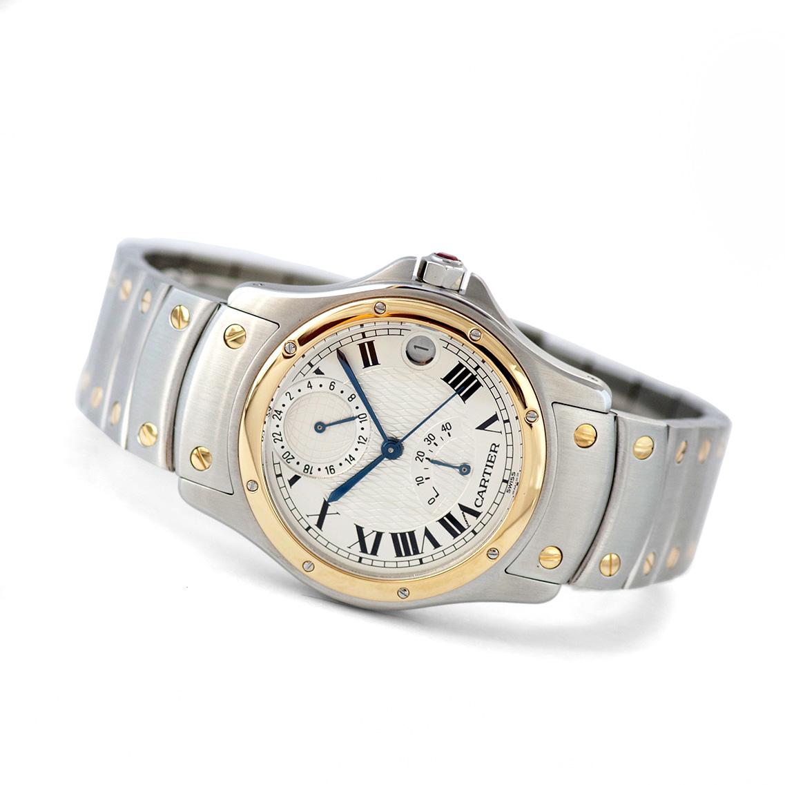 【1997年製】サントス ラウンド GMT パワーリザーブ 150周年記念  Ref:W20038R3