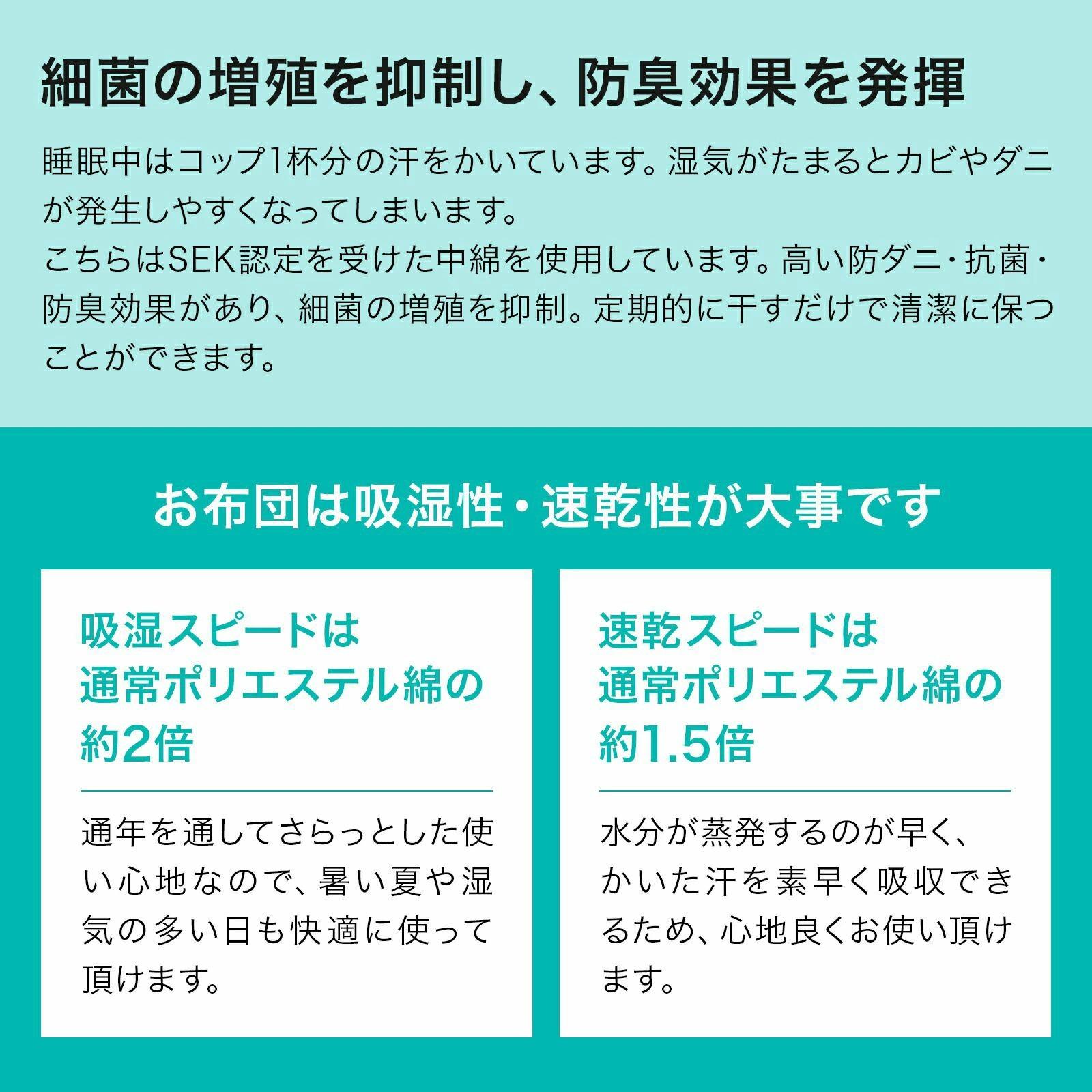 敷布団 シングル 日本製 四層ボリューム敷布団 アクフィット シングルサイズ 防ダニ 抗菌 防臭 吸汗 速乾加工中綿