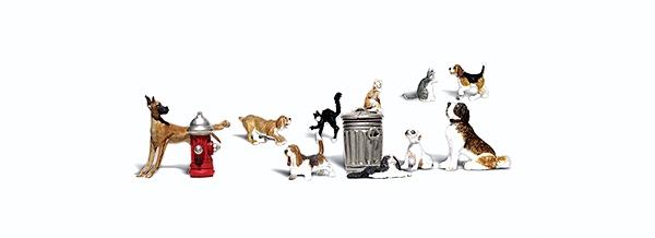 犬と猫、消火栓とゴミ箱 :ウッドランド 塗装済完成品 O(1/48) 2725