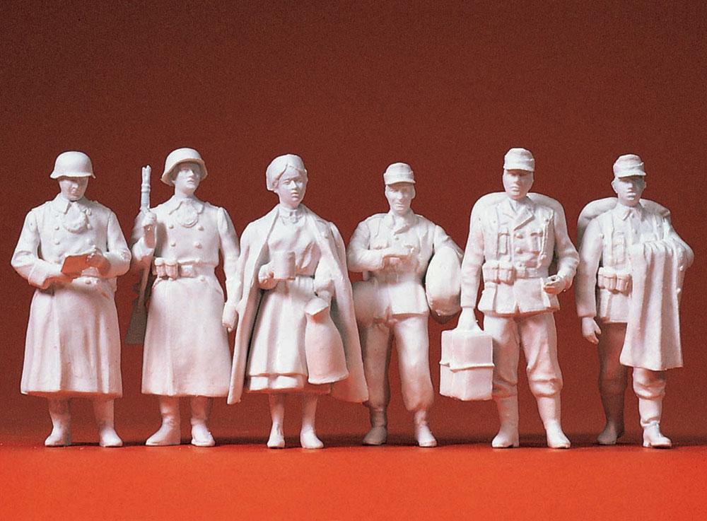 故郷を離れたドイツ兵と看護婦 6人(1939〜45年) :プライザー 未塗装キット 1/35 64006