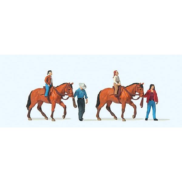 乗馬レッスンを受ける人たち :プライザー 塗装済完成品 HO(1/87) 10794