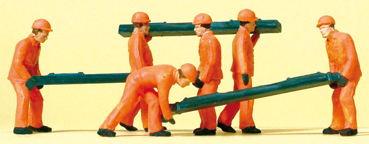 枕木を運ぶ保線作業員 :プライザー 塗装済完成品 HO(1/87) 14036