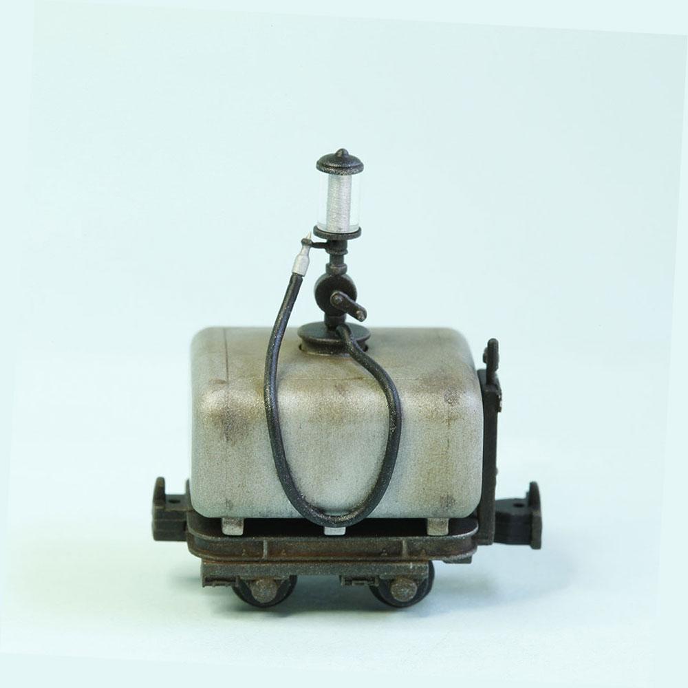 木曾森林鉄道 田島タイプ ガソリン計量車 (銀色タンク/黒台車) :工房ナナロクニ 塗装済完成品 1/87(HO) 1039