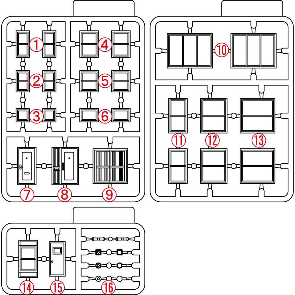 【模型】 ドアと窓(近代風) ※こばる同等品 :さかつう 未塗装キット N(1/150) 3730