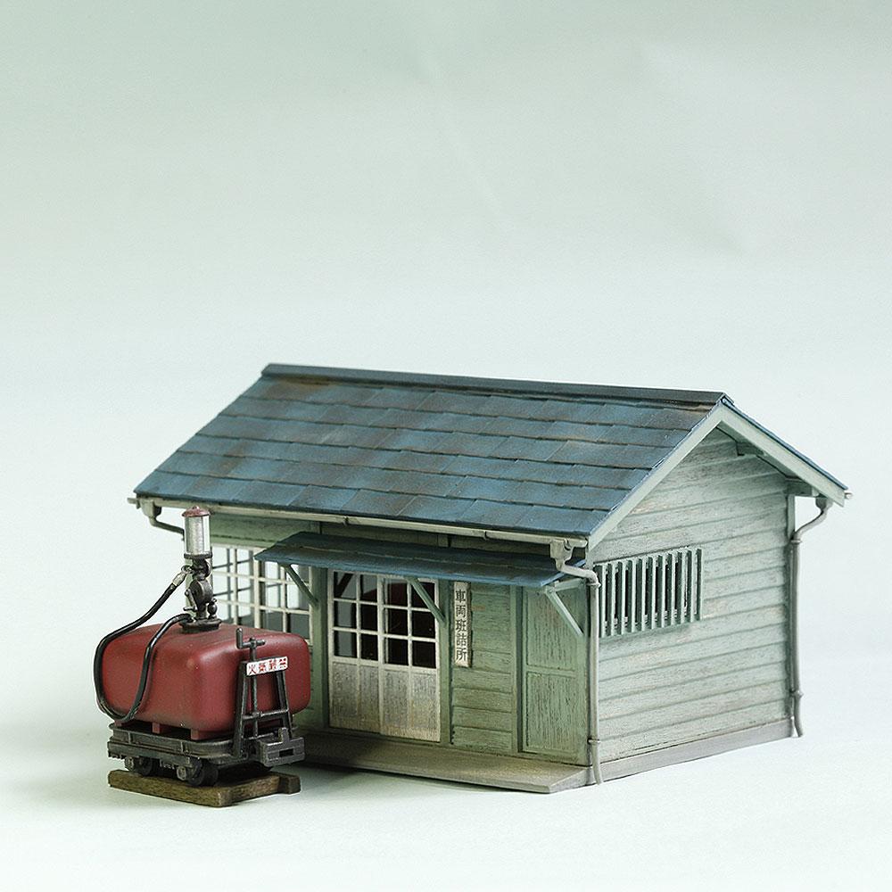 軽便詰所と木曾タイプガソリン計量車 :工房ナナロクニ 塗装済完成品 1/87(HO) 1042