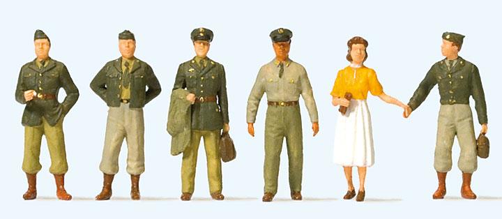 1950年ごろのアメリカ軍人 :プライザー 塗装済完成品 HO(1/87) 10594
