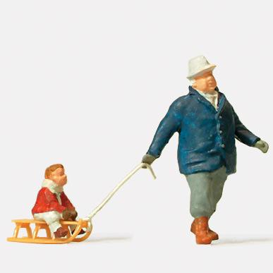子供の乗ったそりを引く男性 :プライザー 塗装済完成品 HO(1/87) 28078