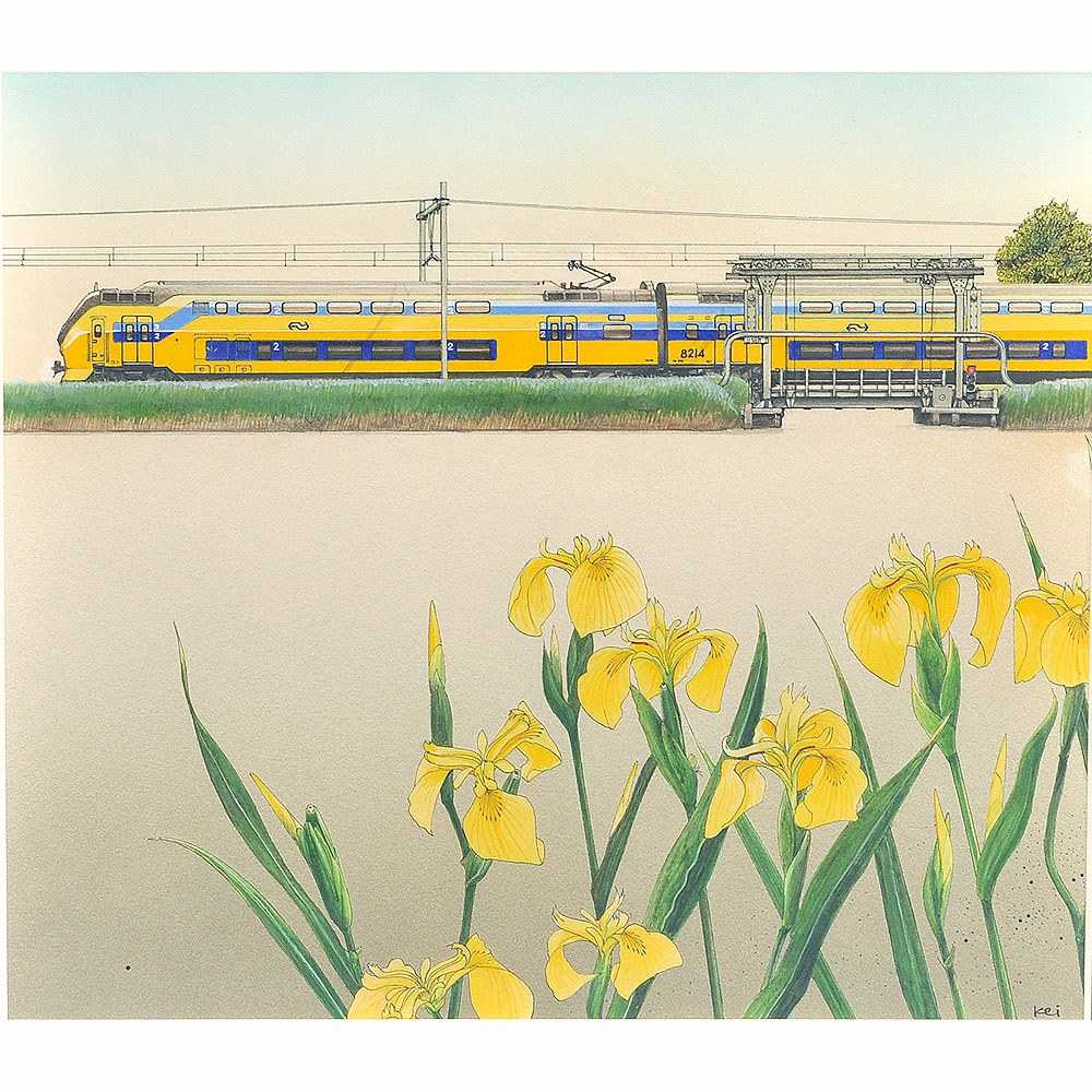 「オランダ水辺の風景」 :西村慶明 直筆イラスト作品