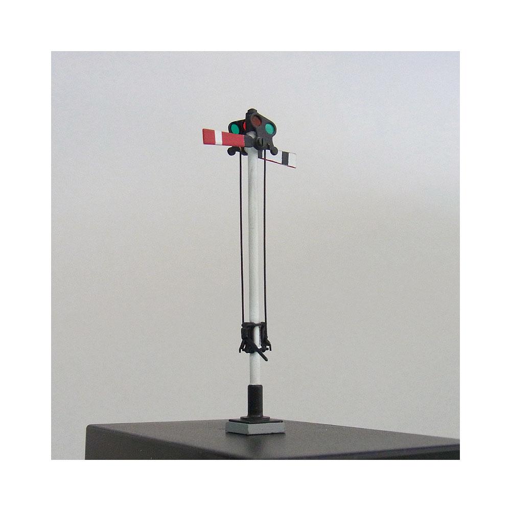 1/87 軽便タイプ腕木信号機(Wアーム) <可動タイプ> :工房ナナロクニ 塗装済完成品 1/87(HO) 1046