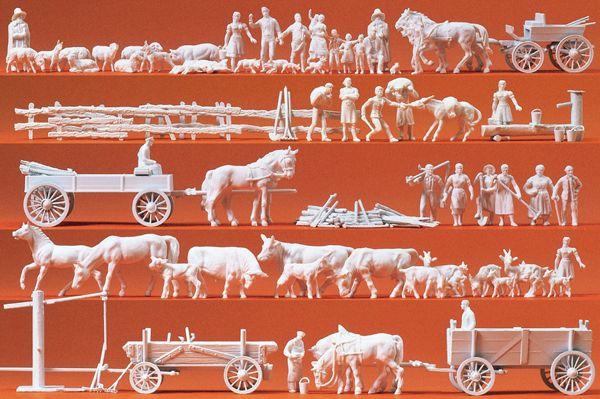 牧場の人と家畜60体 :プライザー キット HO(1/87) 16327