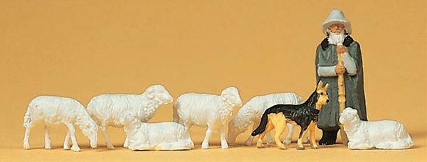 羊飼いと羊と犬 :プライザー 塗装済完成品 HO(1/87) 14160