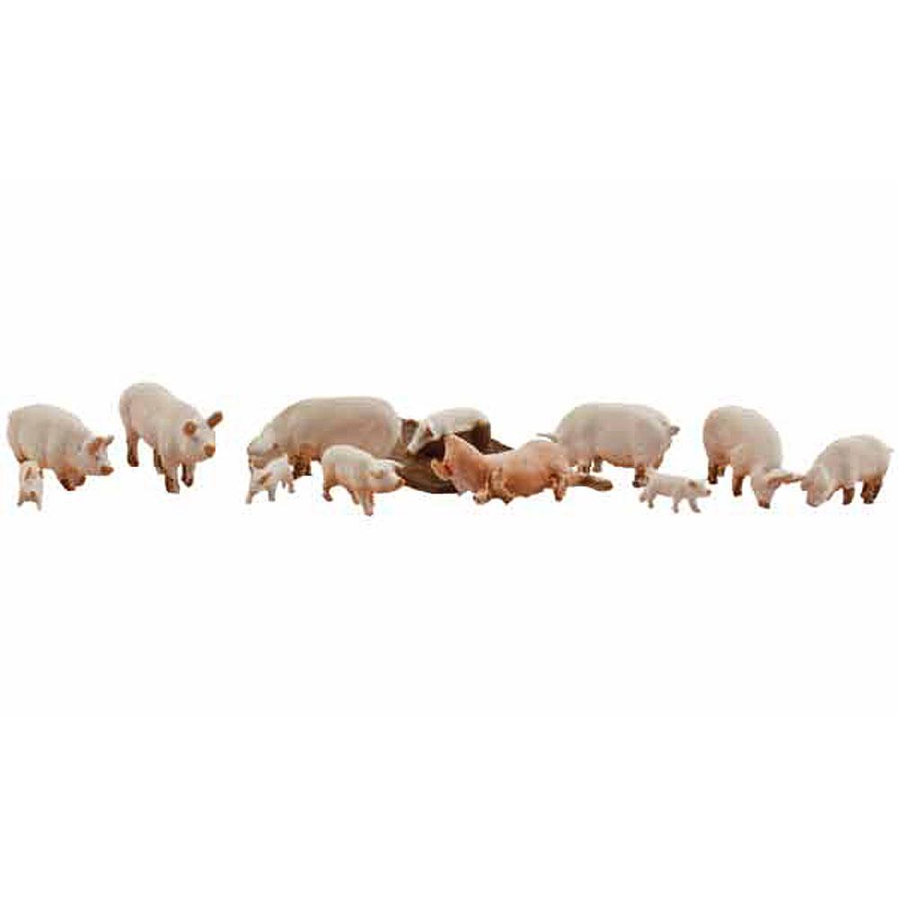 豚(ヨークシャー種)12匹 :ウッドランド 塗装済完成品 HO(1/87) 1957