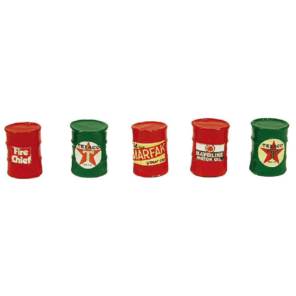 ドラム缶5本セット(テキサコカラー) :JLイノベーティブデザイン 塗装済み完成品 HO(1/87) 562