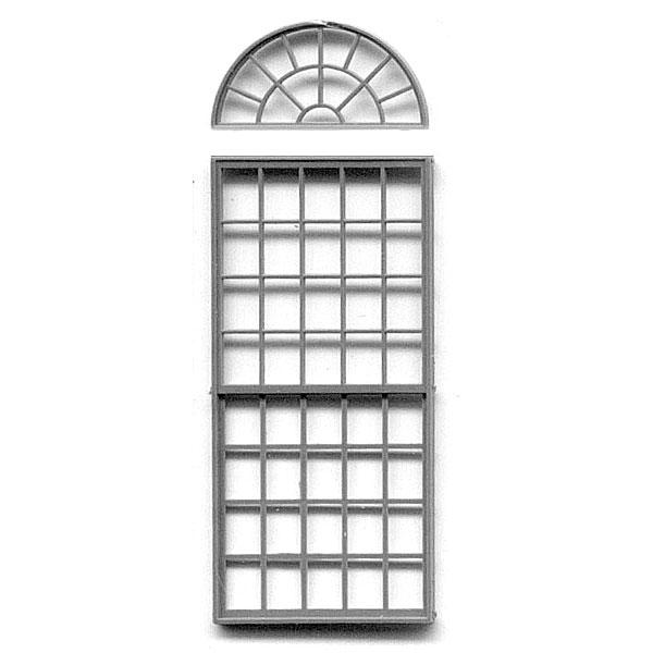 洋風窓 窓枠 丸窓付き :グラントライン 未塗装キット(部品) HO(1/87) 5092