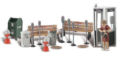 街の小物類 パーキングメーター ゴミ箱 電話ボックス :ウッドランド 塗装済完成品 O(1/48) 2764
