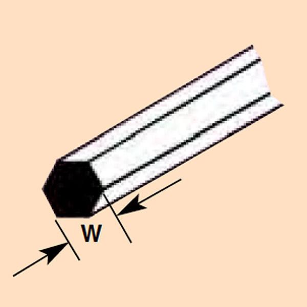 六角材・六角棒 0.5 x 250 mm :プラストラクト プラ材 ノンスケール 90871