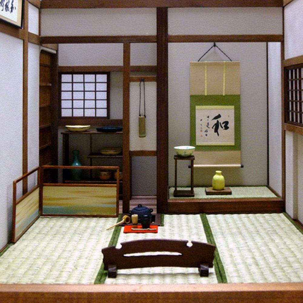 カバー付き三畳の茶室一式 :Matsumoto Craft Works 松本与志彦 塗装済完成品 1/12スケール