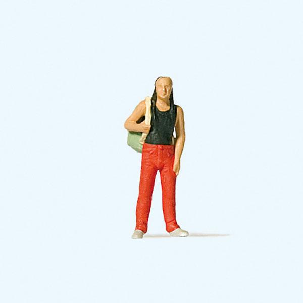 リュックを背負った男性バックパッカー :プライザー 塗装済完成品 HO(1/87) 28191