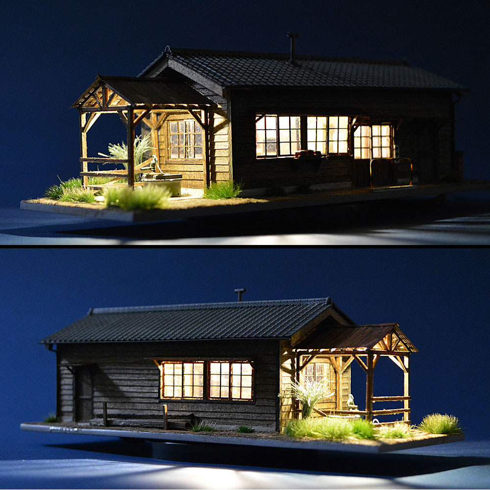 とれいん掲載 井戸のある詰所 瓦屋根タイプ :匠ジオラマ工芸舎 塗装済完成品 HO(1/80) 1036