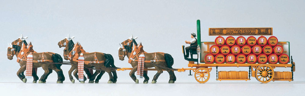 6頭立ての馬に牽かれるビアワゴン(シュパーテンブロイ) :プライザー 塗装済完成品 HO(1/87) 30438