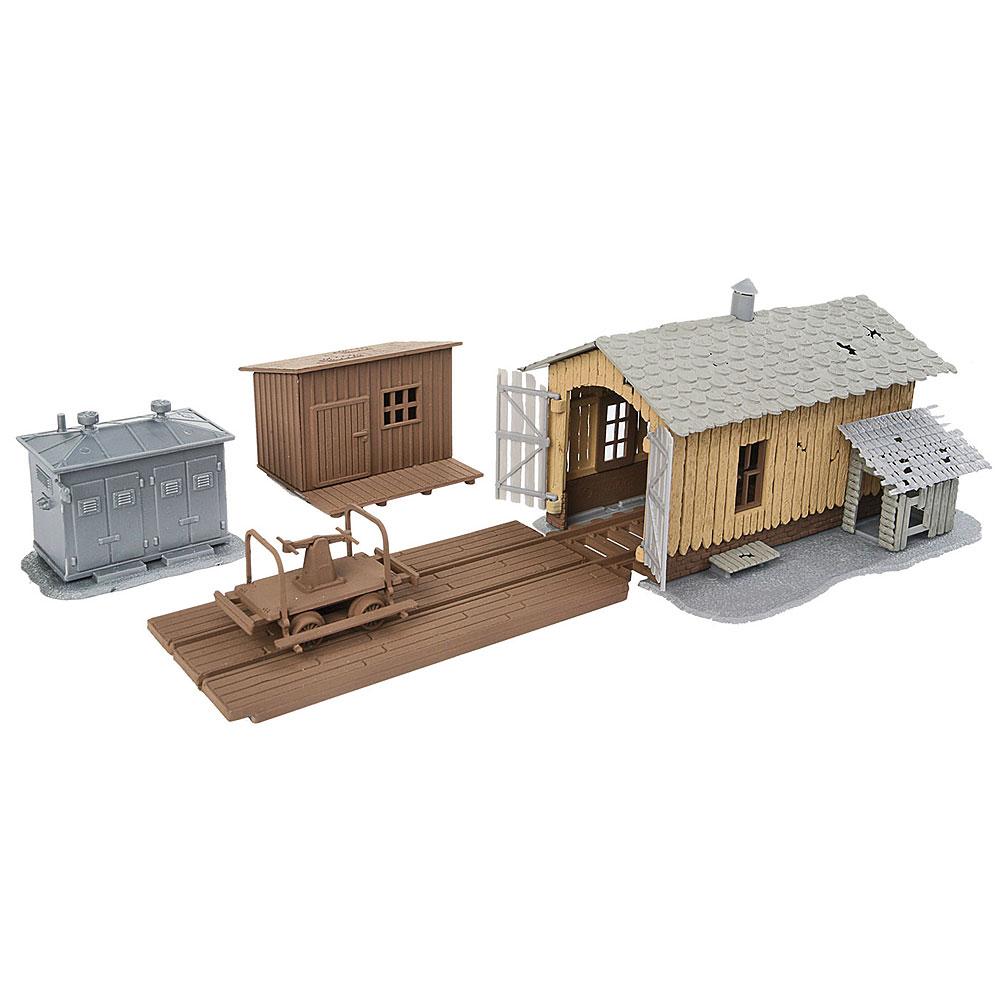 トラックサイド・ツール・ビルディング(線路脇の工具と建物)トロッコ小屋、人力トロッコ、倉庫、変電設備 :ウォルサーズ 未塗装キット HO(1/87) 909