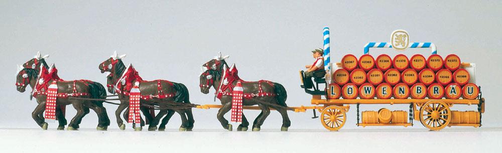 6頭立ての馬に牽かれるビアワゴン(レーベンブロイ) :プライザー 塗装済完成品 HO(1/87) 30437