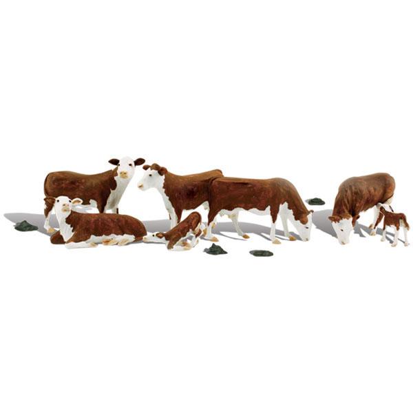 ヘレフォード牛 7頭 :ウッドランド 塗装済完成品 O(1/48) A2767